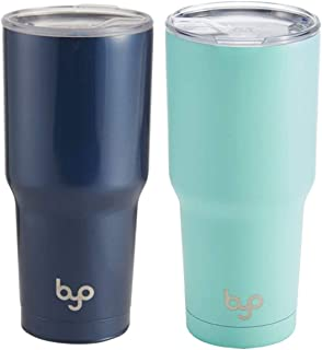 BYO Double Wall Stainless Steel Vacuum Insulated Tumbler, 30-Ounce, 2 Pack (Blue/Aqua)