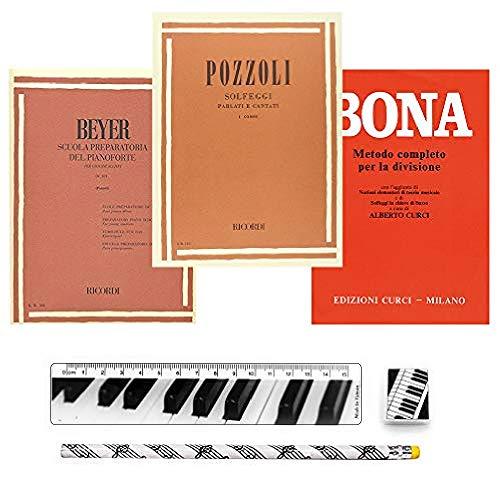 Beyer Scuola preparatoria del pianoforte, Pozzoli Solfeggi parlati e cantati (I° corso), Bona Metodo completo per la divisione | Set Cancelleria in Omaggio