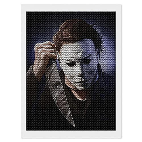 Michael Myers DIY Diamond Painting Kits for Adults Diamond Art Kids Round Full Drill Diamond Arts Craft for Home Wall Decor Canvas Gift 12