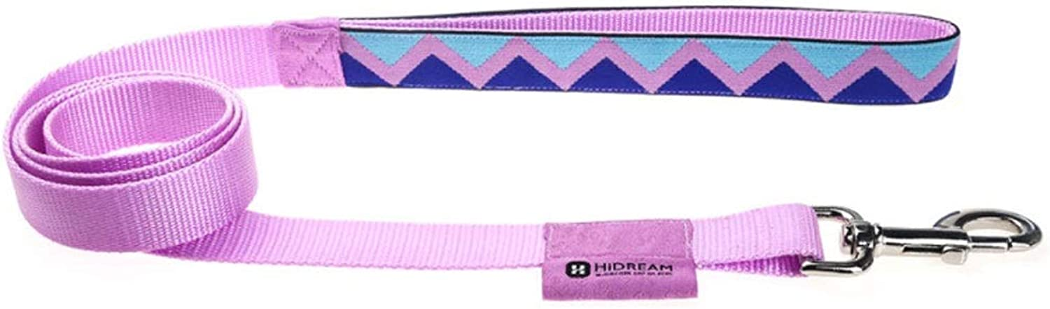 Rainbow Series Traction Rope Nylon Comfort Small, Medium and Large Pet Supplies Dog Leash (color   Pink, Size   S)