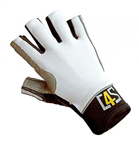crazy4sailing Damen Herren Segelhandschuhe Racing - 5 Finger-frei, Farbe:weiß, Größe:M