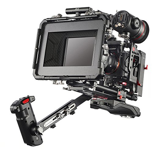 JTZ DP30 Camera Cage + 15mm Rail Base Plate Rig&Top Handle+Shouder Pad&Handle Grip+Carbon Fiber Matte Box+Follow Focus+Power Supply for Sony A7III A7RIII A7SIII A9 A9II A7RIV Camera