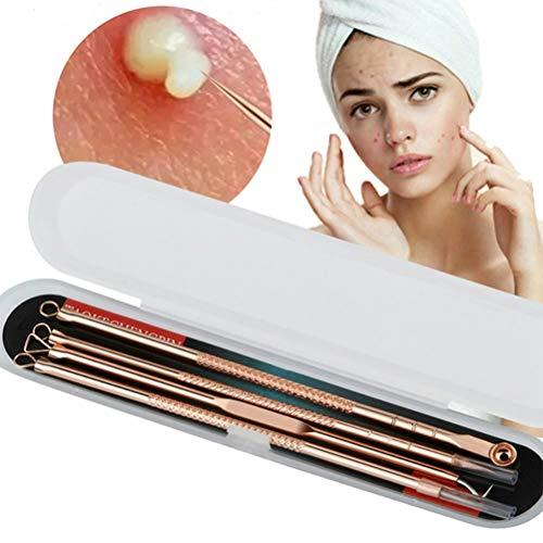 Agujas contra el acné, 4 piezas Blackhead Comedone Pimple Blemish Extractor Kit de herramientas para el cuidado de la piel