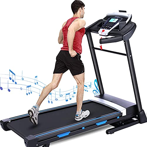 ANCHEER Folding Treadmill for Home, 300 lbs Weight Capacity, 3.25HP Treadmill with Automatic Incline, Electric Walking Running Treadmill with Incline, Large Screen,Bluetooth Speakers