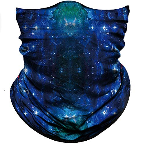 Obacle Seamless Bandana for Rave Face Mask Dust Wind UV Sun Protection Neck Gaiter Tube Mask Headwear Bandana for Women Men Festival Party Motorcycle Riding Outdoor (Starry Sky Deep Blue Green 03)