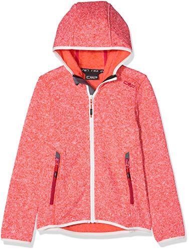 CMP Mädchen Knit Tech mélange Fleece Jacket with Hood Jacke, Bitter, 110