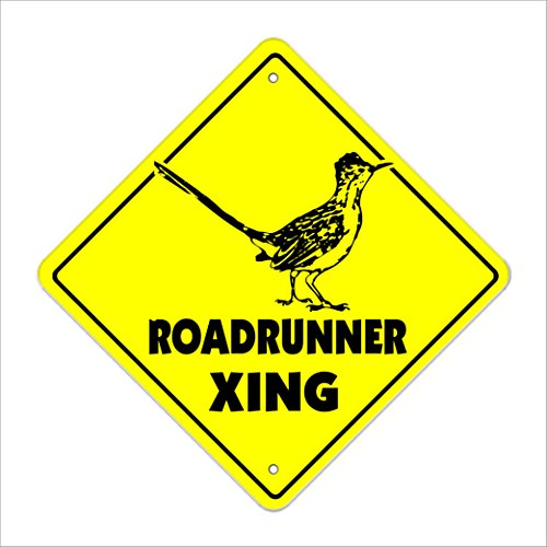 "Roadrunner Crossing Sign Zone Xing | Indoor/Outdoor | 12"" Tall Plastic Sign car race track muscle car fast"