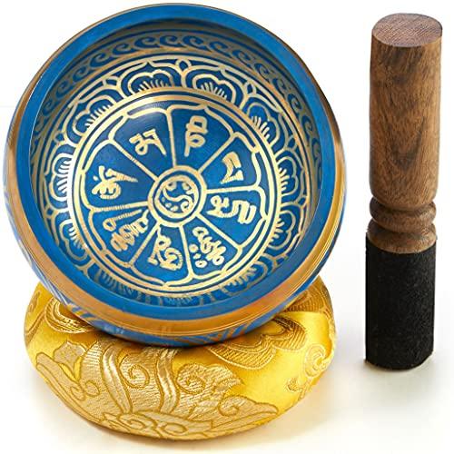 Tibetische Klangschale, blau, Set mit Klöppel und Klangschalenkissen in Loktapapier Geschenk-Box. Singing Bowl aus Tibet