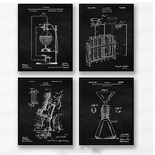 BINGJIACAI Vintage Science Lab Química Herramienta Patente Poster Lienzo Pintura Arte de la pared Imagen Modular Impresión Laboratorio Oficina Decoración-30x40cmx4 Sin marco