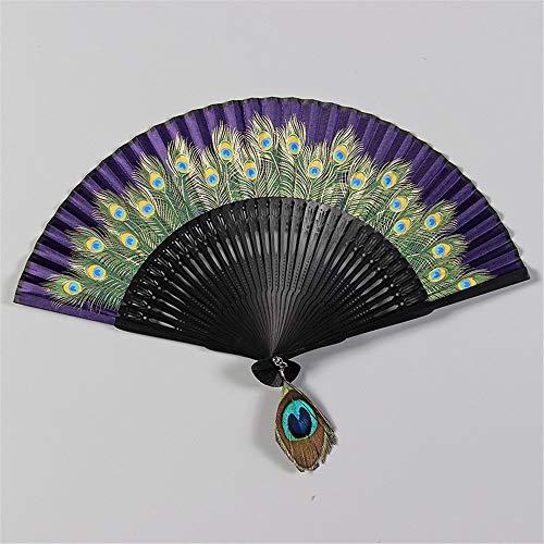 Ventilador plegable de la mano Los aficionados mano Held Fan plegable de tela de seda de bambú Ventilador de mano del ventilador del estilo chino for decoración de la pared de baile de fiesta de boda