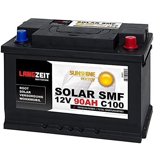 Langzeit Solar SMF Solarbatterie 90Ah 12V Versorgungsbatterie Wohnmobil Batterie Boot total wartungsfrei 70Ah 80Ah