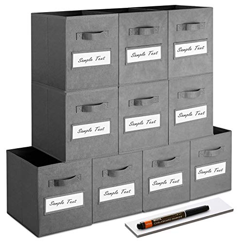 artsdi Set of 10 Storage Cubes Foldable Fabric Cube Storage Bins with 10 Labels Window Cards a Pen Collapsible Cloth Baskets Containers for Shelves Closet Organizers Box for HomeOfficeGray