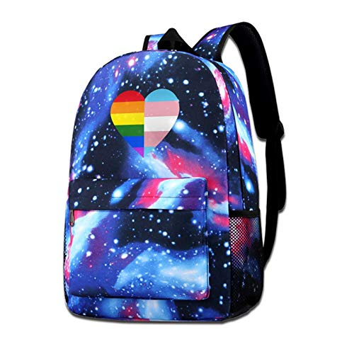Galaxy Backpack Shoulders Bag Lgbt Rainbow And Transgender Flag Heart Starry Sky Bag For Outdoor Travel School
