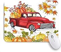 マウスパッド 個性的 おしゃれ 柔軟 かわいい ゴム製裏面 ゲーミングマウスパッド PC ノートパソコン オフィス用 デスクマット 滑り止め 耐久性が良い おもしろいパターン (秋の感謝祭の国の農家のトラックカボチャと秋のカエデの葉とレトロな赤い素朴な秋の農場の収穫車)