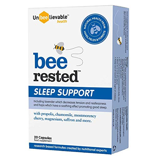 Bee Rested sleep support supplements with royal jelly, saffron, lavender, chamomile and more - 20 Capsules