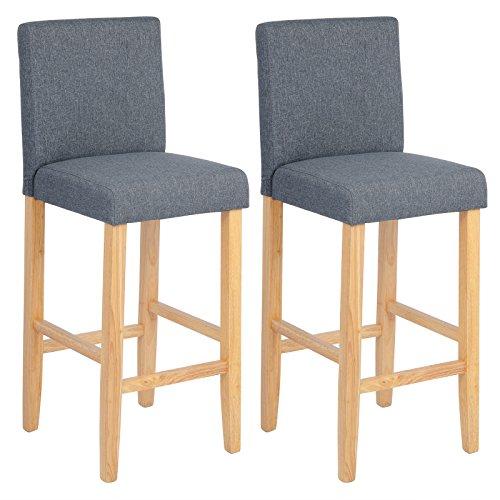 WOLTU BH65dgr-2 Barhocker Bistrostuhl Holz Leinen Bistrohocker mit Lehne, 2er Set,helle Beine aus Massivholz, Antirutschgummi, dick gepolsterte Sitzfläche aus Leinen, Dunkelgrau