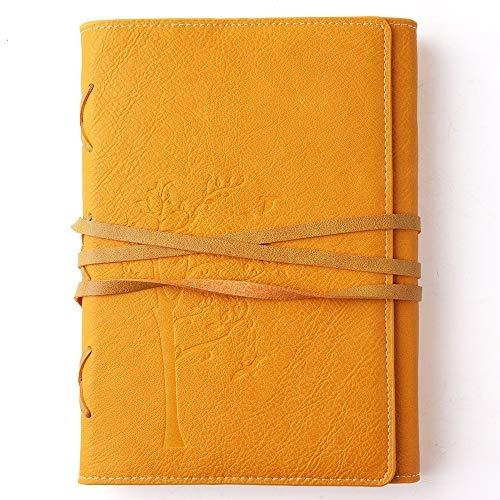 VALERY Vintage Notizbuch Din A5 I Gebunden I Liniertes Tagebuch PU Leder I Nachfüllbares Reisetagebuch I 96 Blätter, 192 linierte Seiten Säurefreies Papier I Journal Geschenkidee - Gelb