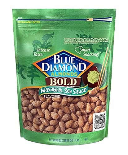 Blue Diamond, BOLD Wasabi & Soy Sauce Almond Snack Nuts, 40oz Bag