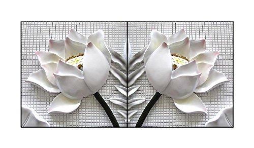 bfcy Art- 2 piezas blanco de flor de loto de pared Moderno Arte impresión sobre lienzo con estirada marco listo para colgar para decoración para el hogar