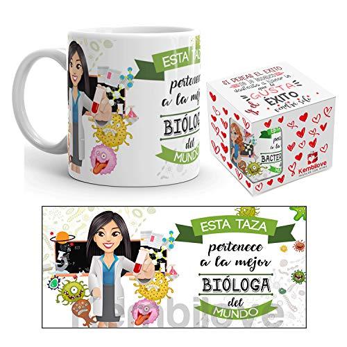 Kembilove Taza de Café de la Mejor Bióloga del Mundo – Taza de Desayuno para la Oficina – Taza de Café y Té para Profesionales – Taza de Cerámica Impresa – Tazas de Jefe de 350 ml para Biólogas