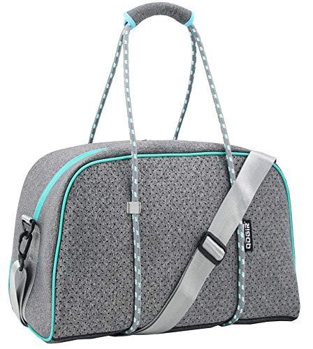 QOGiR Neoprene Sports Gym Bag Travel Duffel Bag with Elastic Shoe Bag (Elegant Grey, Small)