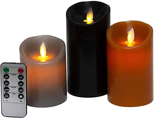 Kitch Aroma Set of 3 Assorted Grey/Brown/Black flameless Candles 3 x 4/5/6inch Battery Operated LED Pillar Candles with Moving Flame for Halloween Thanksgiving Christmas Home Decor