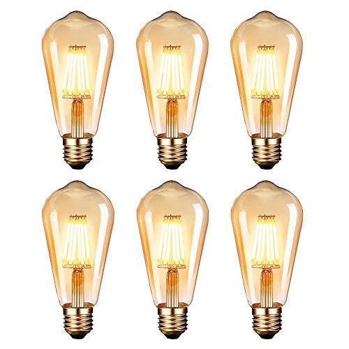 Edison Glühbirne,Dobee Edison Vintage LED Lampe E27 (6W/220V) 2600-2700K Retro Glühbirne Vintage Antike Glühbirne,Amber Warm, 6 Stück [Energieklasse A]
