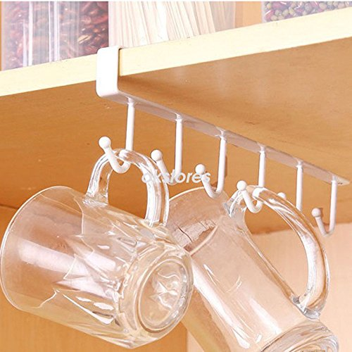 AMAZZANG-6 Hooks Cup Holder Hang Kitchen Cabinet Under Shelf Storage Rack Organiser Hook (WHITE)