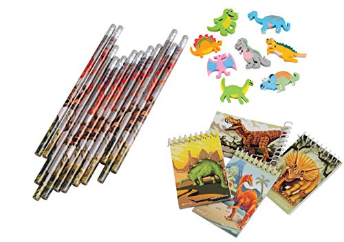 Nikki's Knick Knacks Dinosaur Stationary Set- Pencils, Notebooks, and Erasers