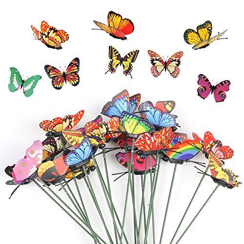 Richaa 50 Piezas Mariposas de Jardín en Estacas , Adornos de Jardín de Mariposas a Prueba de Agua para la Decoración del Patio de Césped