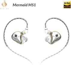 HIDIZS MS1 In-Ear Monitor Headphones, Hi Res Headphones Wired Audiophile, Dynamic Diaphragm Hi-Fi IEM Earphones with Detachable Cord (Silver)