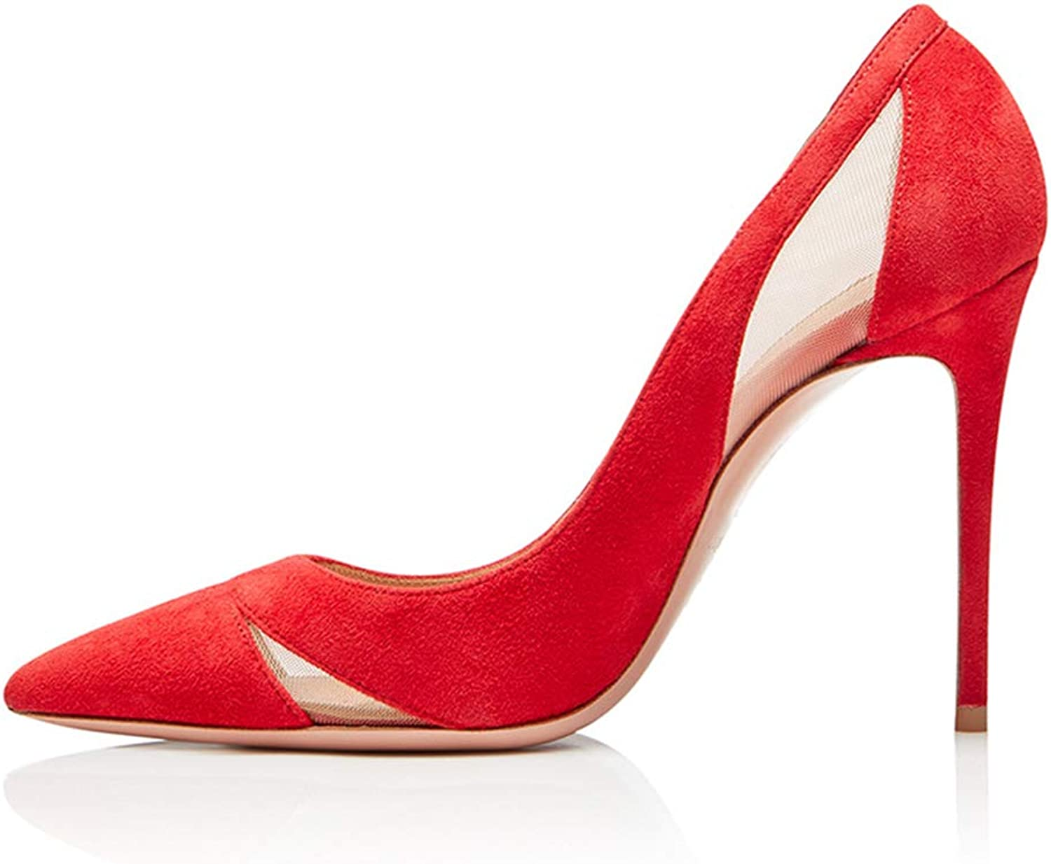 Women's Ladies Pumps Stiletto High Heels shoes Summer Heeled Sandals Suede Slip On Pointed Colsed Toe Dress Evening Black Red