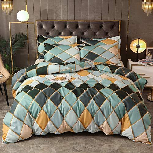 Shamdon Home Collection Ropa de cama de 200 x 200 cm, diseño geométrico, funda nórdica de...