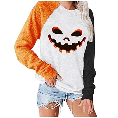 SoeHir Pullover for Women's Blouse Fashion Halloween Print Long-Sleeved Crewneck Sweatshirt Casual Tops White