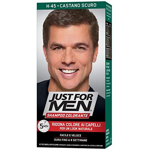 Just for Men Shampoo Colorante, H45 – Castano Scuro, Tintura Maschile, Ridona Colore Ai Capelli Per Un Look Naturale
