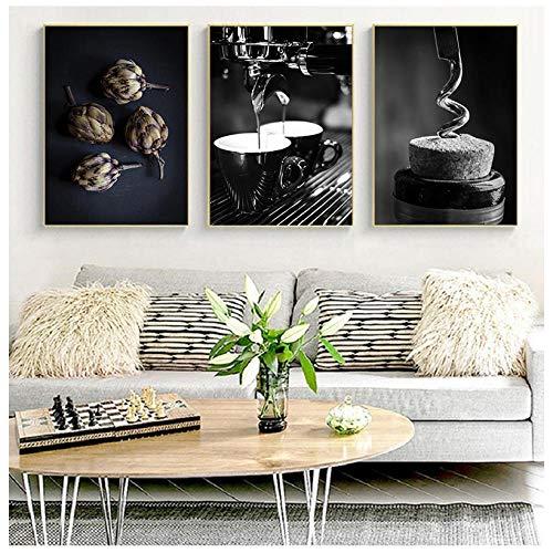 Cartel de cuentas de vino de café negro blanco comida bebida cocina arte de pared impresión simple lienzo pintura imagen comedor decoración 50x70cmx3 sin marco