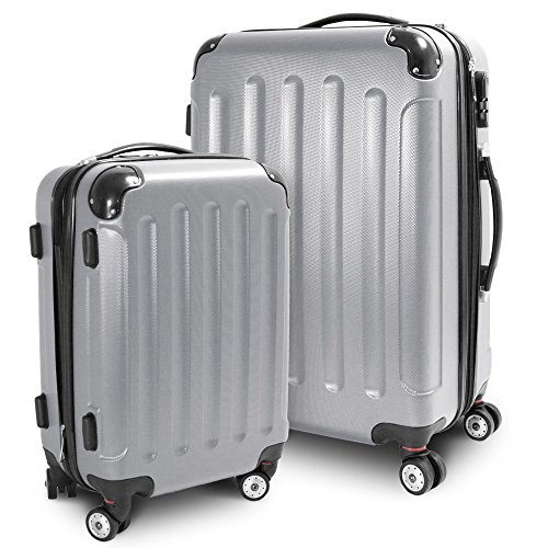 BERWIN® Kofferset M + L 2-teilig Reisekoffer Trolley Hartschalenkoffer ABS Teleskopgriff Modell Stripes (Silber)
