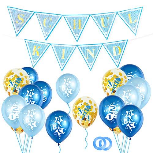 Bluelves Einschulung Deko Jungen, Schuleinführung Schulanfang Deko Set, Luftballons Einschulung + Schulkind Girlande, Konfetti Luftballon Set mit ABC 123 Zuckertüte Motiv