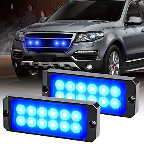 yifengshun 2pcs 12-24V Ultra Sottile Lampeggiante Emergenza Avvertimento Strobo Luci Luce - 12LEDS Flash Warning Light Bar - Auto Moto Truck-blu