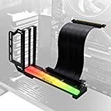 EZDIY-FAB Vertical Graphics Card Holder Bracket with ARGB 5V 3Pin LED,GPU Mount,Video Card VGA Support Kit with PCIE3.0 Riser Cable- Black