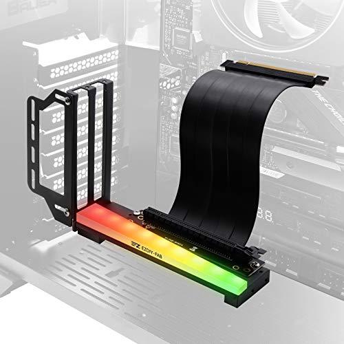 EZDIY-FAB Soporte vertical para tarjetas gráficas con ARGB 5V 3Pin LED, montaje GPU, tarjeta de video VGA Kit de soporte con cable elevador PCIE3.0 - Negro