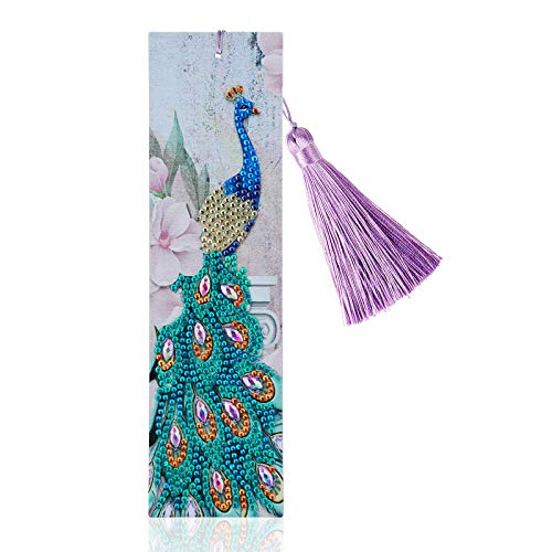 MWOOT 5D Segnalibri di Diamante Pittura,DIY Diamond Art Painting Bookmark,Perline Segnalibri di Diamanti,Segnalibri Nappa di Cuoio,Diamante Ricamo Craft Arts Regalo (Pavone)