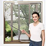 """NeatiEase Adjustable DIY Magnetic Window Screen Max 72"""" x 48"""" Fits Any Size Smaller with White Frame Fiberglass Mesh"""