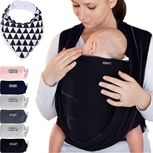 Babytragetuch aus 100% Baumwolle - Schwarz – hochwertiges Baby-Tragetuch für Neugeborene und Babys bis 15 kg – inkl. GRATIS Baby-Lätzchen