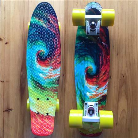 DYKJK 22' X 6' Skateboards Retro Standard Skateboard Mini Cruiser Plastic Longboard Graphic for Girls Twister for Kids, Boys, Girls and Teens (Color : Twister)