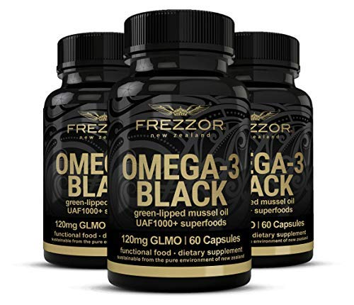 FREZZOR Omega 3 Black, Green Lipped Mussel Oil New Zealand,  UAF1000+, Joint Pain Relief and Inflammation Supplement, Heart and Immune Support, No Fishy Aftertaste, 450mg, 3 Pack, 180 Count