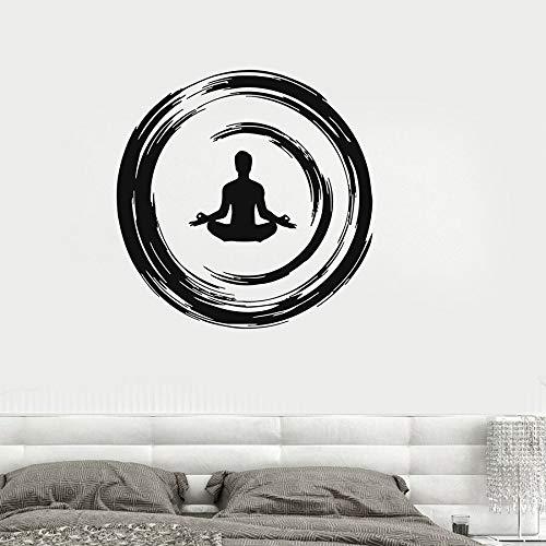 Calcomanía de vinilo para pared, meditación budista, Ensor, círculo, Yoga, estudio, dormitorio, pegatina de pared, relajación, meditación, arte, Mural, decoración del hogar