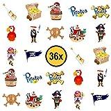 36x Piraten Kinder Tattoos / für Jungen und Mädchen / Mitgebsel / Kindergeburtstag / Piraten Party / Kinder Tattoo Set von PartyPack™