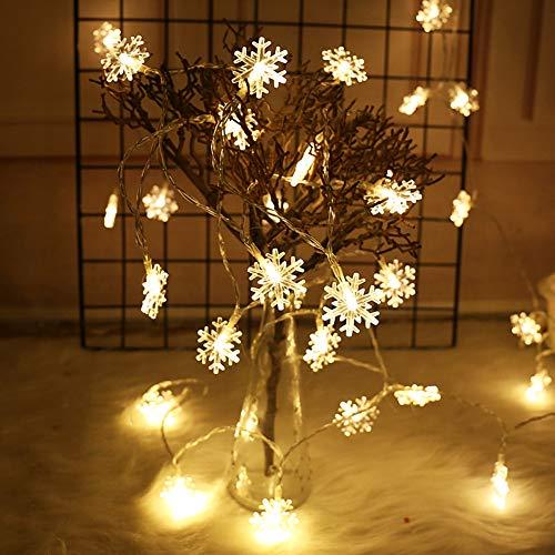 Cadena Luces Copo de Nieve de Navidad Alimentada por Batería, 80 Led 10M Guirnaldas Luminosas de Exterior-Interior, para el áRbol de Navidad en Casa Boda Decoraciones Interior(Blanco cálido)