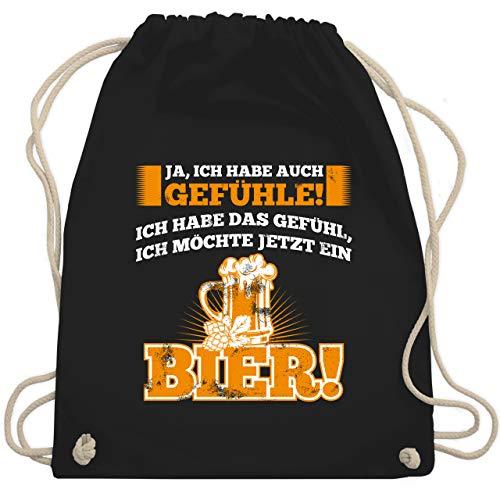 Sprüche - Ja ich habe auch Gefühle - Bier - Unisize - Schwarz - bier sprüche - WM110 - Turnbeutel und Stoffbeutel aus Baumwolle